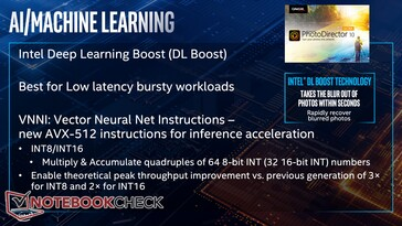 AI and machine learning benefit from DL Boost (short burst workloads) and VNNI AVX-512 instructions