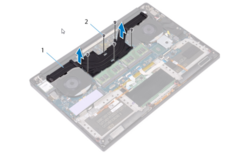 Dell XPS 15 9570 heatsink assembly diagram. (Source: Dell)