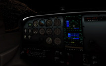 Default X-Plane 11 Cessna 172SP cockpit at night. (Source: Laminar Research)