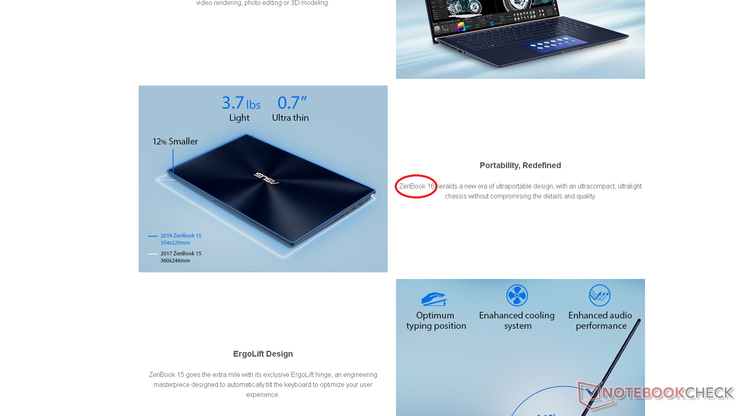 "The first mistake is minor as it should be ""ZenBook 15"" instead of ""ZenBook 16"""