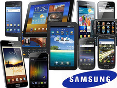 Various Samsung smartphones and tablets
