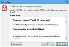 Vivaldi 2.9 update notification (Source: Own)