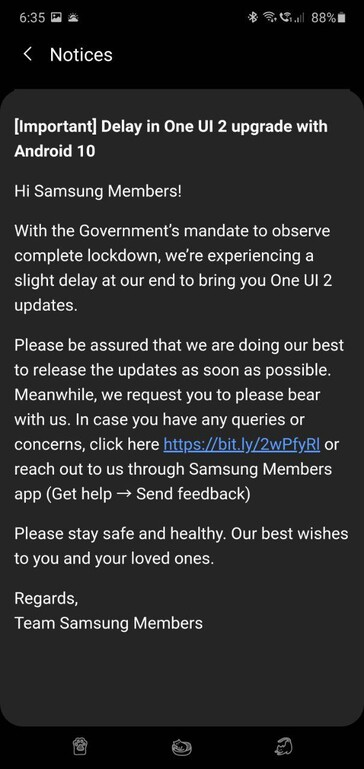 Samsung India's notice on the Members app (image via: own)
