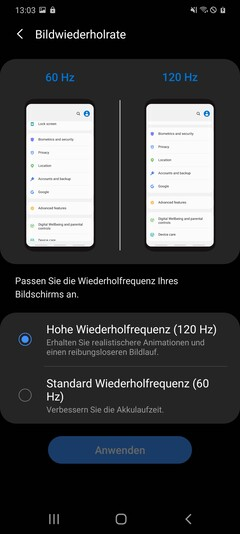 Galaxy S20+ display options