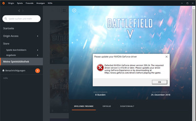 The existing driver is too old for Battlefield V.