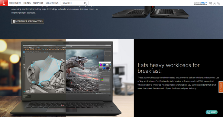 Lenovo's website briefly showed a picture of the ThinkPad P1