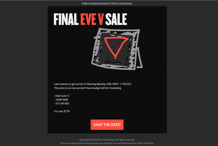 Eve's email containing details of its final V sale. (Source: Eve Devices)