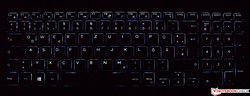 Keyboard of the Dell Inspiron 17-7786 (illuminated)