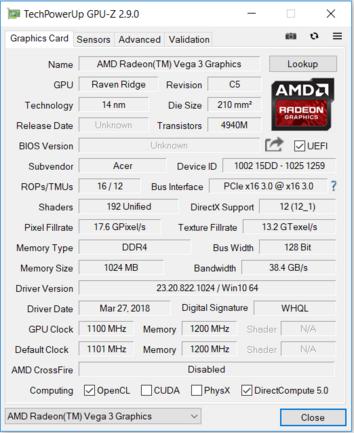 Acer Aspire 3 A315-41 (Ryzen 3 2200U, Vega 3, SSD, FHD