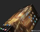 While folded, the smartphone would essentially have a front and a rear display. (Source: Weibo)