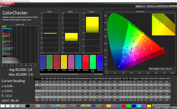 Color accuracy (target color space: P3), color mode: vibrant, warm