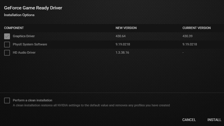 NVIDIA GeForce Game Ready Driver 430.64 component versions (Source: Own)