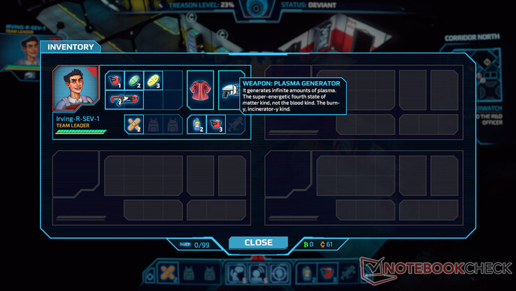 The game has a space-based inventory system where some items take up a single 'slot' and others take multiple 'slots.' During a mission you can see the inventory of all four team members.