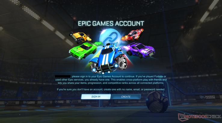 You cannot play Rocket League without an Epic Games account. (Image source: Notebookcheck)