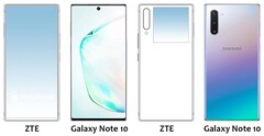 "The new ""ZTE phone"" up against Galaxy Note 10 renders. (Source: MobielKopen)"