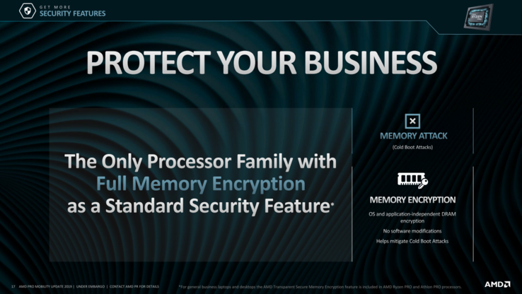 AMD is boasting full memory encryption, GuardMI Security, and DASH manageability as some of its top security features to lure in more business users