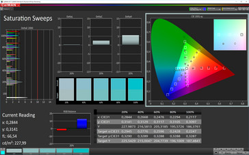 CalMAN: Color Saturation – Profile: Warm, sRGB target color space