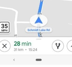 Some US users can now see a speed-limit icon in the bottom left corner of their directions view in Maps. (Source: Google)