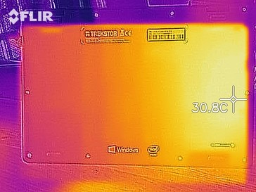 A thermal image of the bottom case at idle