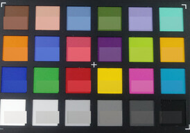 Photograph of ColorChecker colors: The bottom half of each box displays the original color