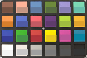 ColorChecker colors. Reference color in bottom half of each square.