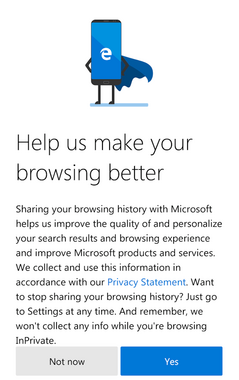 Microsoft Edge beta for Android welcome screen allowing users to opt out of browser tracking. (Source: Own)