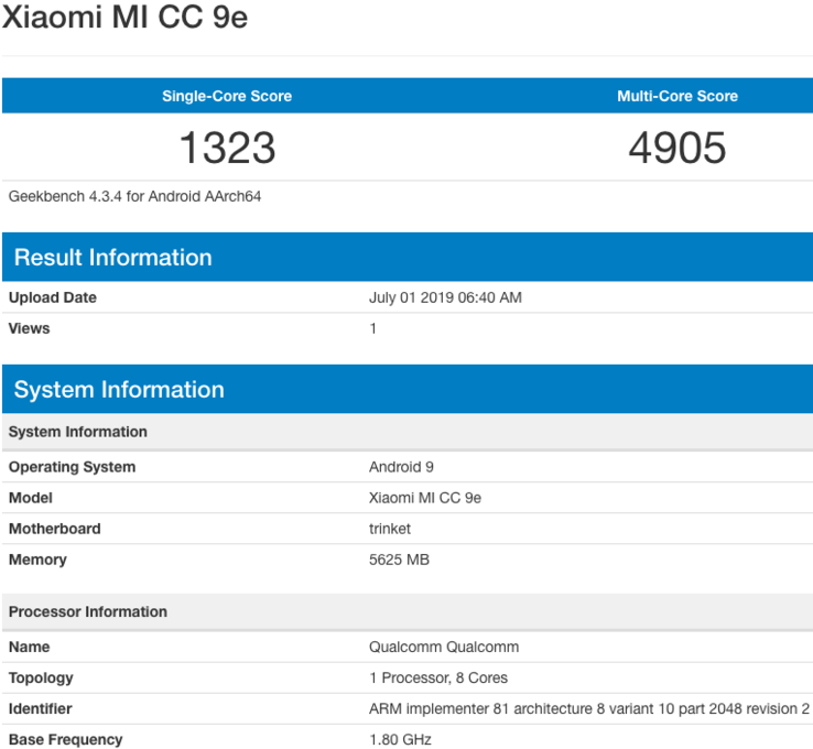 "One of the new ""Mi CC 9e"" Geekbench listings. (Source: Venkatesh Babu.G via Twitter)"