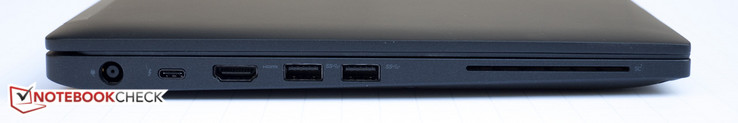 Left side:power, USB Type-C Gen 2 w/ Thunderbolt, HDMI, 2x USB 3.0, smart card reader