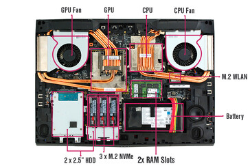 Tornado F7W inetrnal layout: SSD array fully visible (Source: Eurocom)