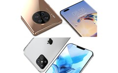 Huawei Mate 40 Pro (top) & Apple iPhone 12 (bottom). (Image source: WindowsUnited.de/PhoneArena - edited)