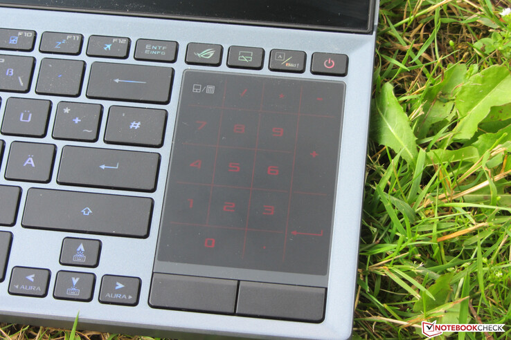 A press in the upper left corner of the touchpad activates the numpad