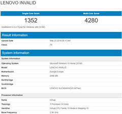 Details of alleged Windows laptop with Snapdragon 845 by Lenovo (Source: Geekbench Browser)