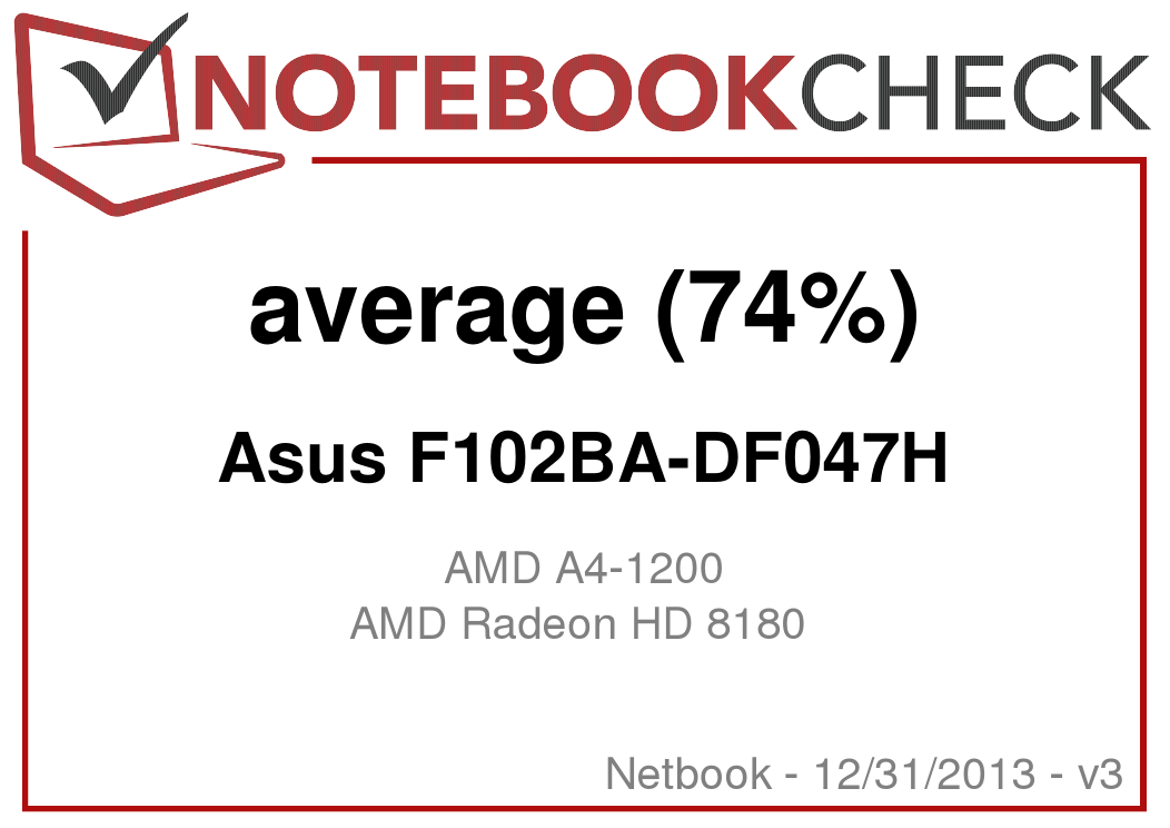 Review Asus F102BA-DF047H Netbook - NotebookCheck net Reviews