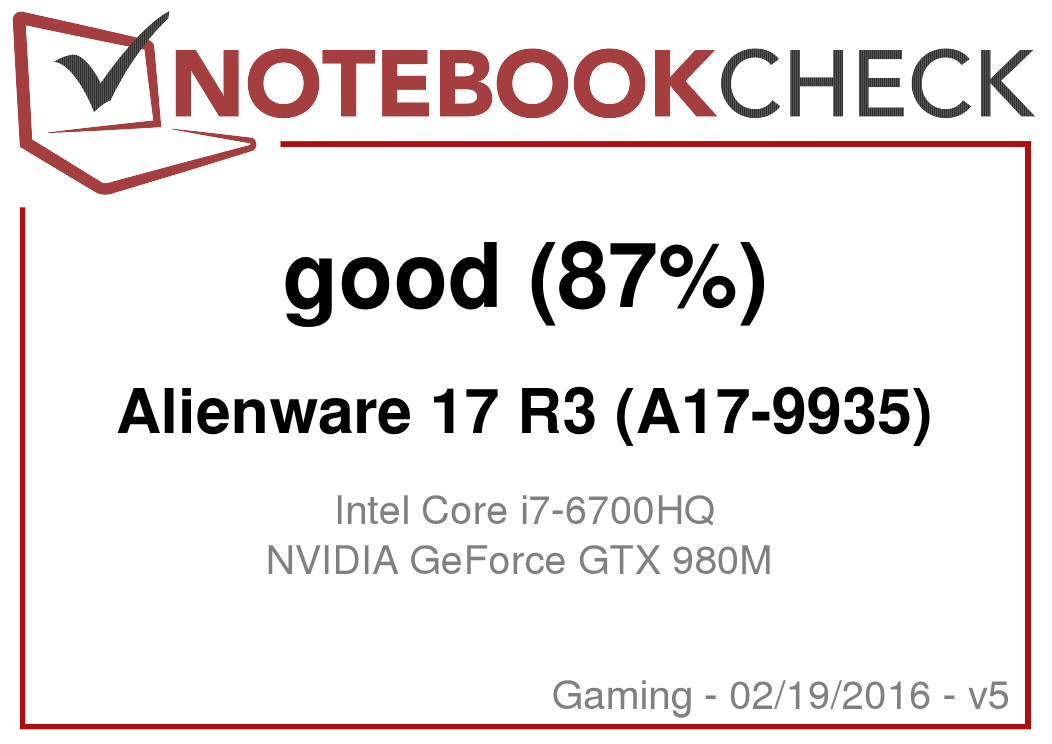 Alienware 17 R3 Notebook Review - NotebookCheck net Reviews