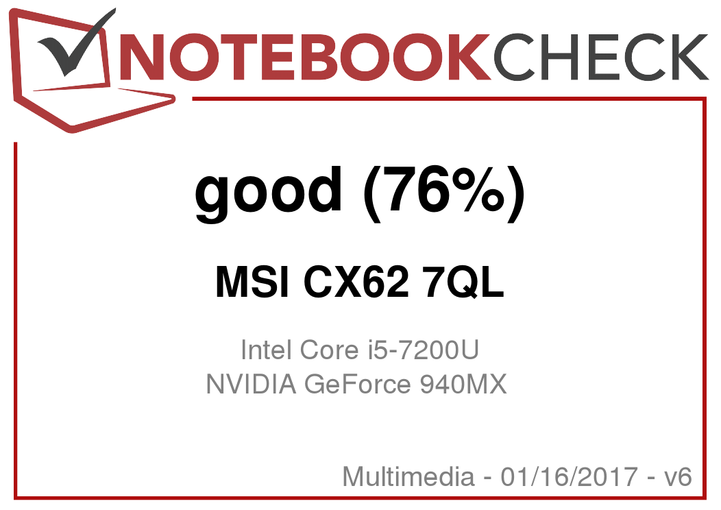 MSI CX62 7QL Notebook Review - NotebookCheck net Reviews
