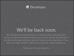 After getting hacked Apple tried to explain the downtime with maintenance