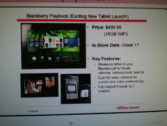 Wi-Fi PlayBook priced at $499.99 in Office Depot listing