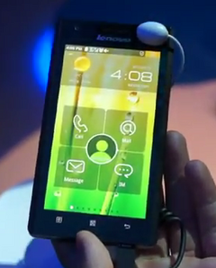 Lenovo unveils Medfield powered Android phone