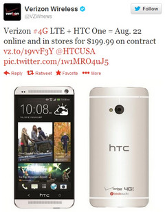 HTC One confirmed by Verizon for August 22