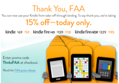 Amazon discounts Kindles in celebration of FAA policy change
