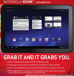 Motorola Xoom to ship on February 24th; Flash support to follow
