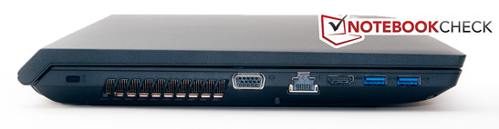 Left side: Kensington Lock, VGA, LAN, HDMI, 2x USB 3.0