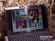 The notebook can be used outdoors depending on where the sun is.