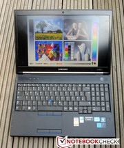 The Samsung notebook is well-suited for outdoors use as it has an anti-glare display and high brightness.