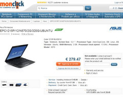 Asus Eee PC 1215P with Ubuntu Linux now available in Italy