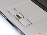 The fingerprint reader is located between both mouse keys.