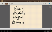 The notebook app practically screams for the stylus.