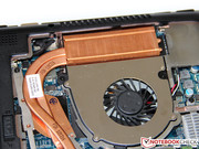 Only a massive copper heat sink with heat pipes supports it.