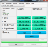 AS SSD benchmark: 482/133 MB/s read/write