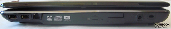2x USB 2.0, modem, DVD drive, power socket, Kensington security slot